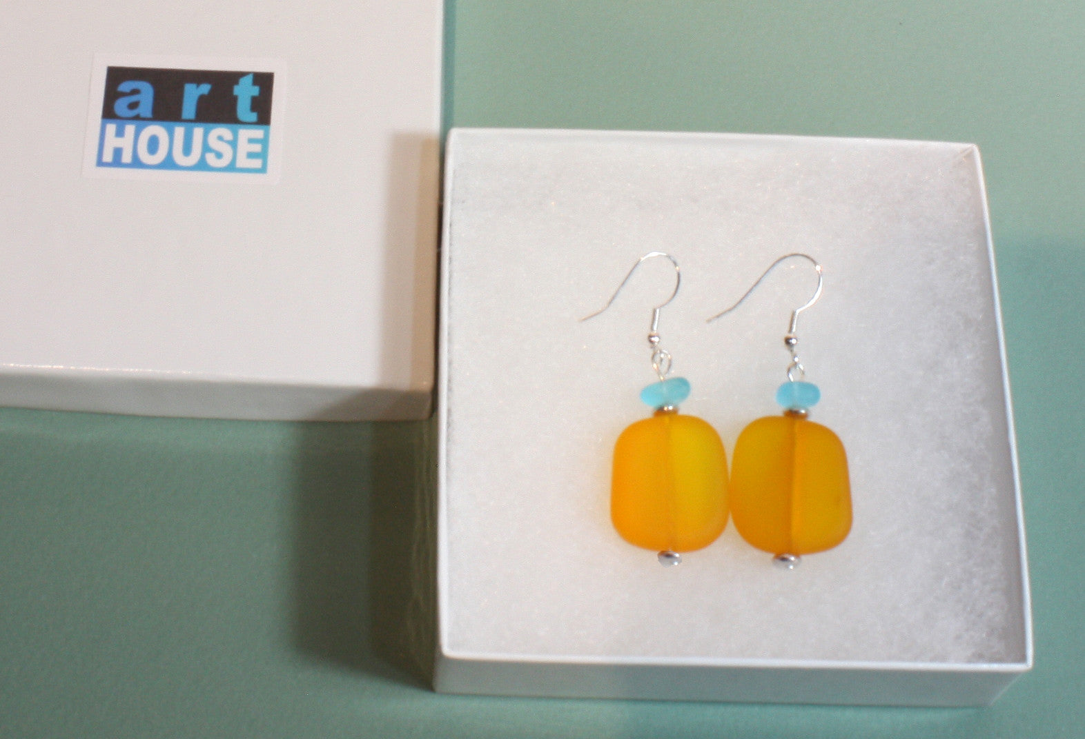 """Sea Glass and Sunsets"" Faux Sea Glass Earrings; Dangle 2.0 Inches"