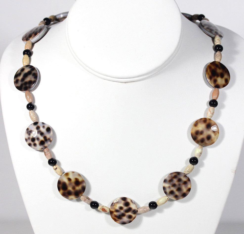 "Spotted Tiger Cowrie Shell Necklace ""So Sleek"" Style-ARThouse"