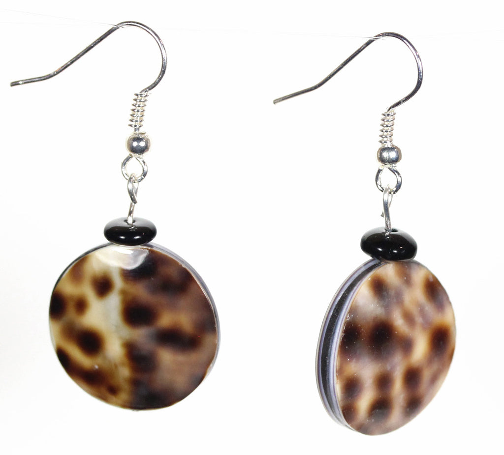 "Spotted Tiger Cowrie Shell Earrings ""So Sleek"" Style-ARThouse"