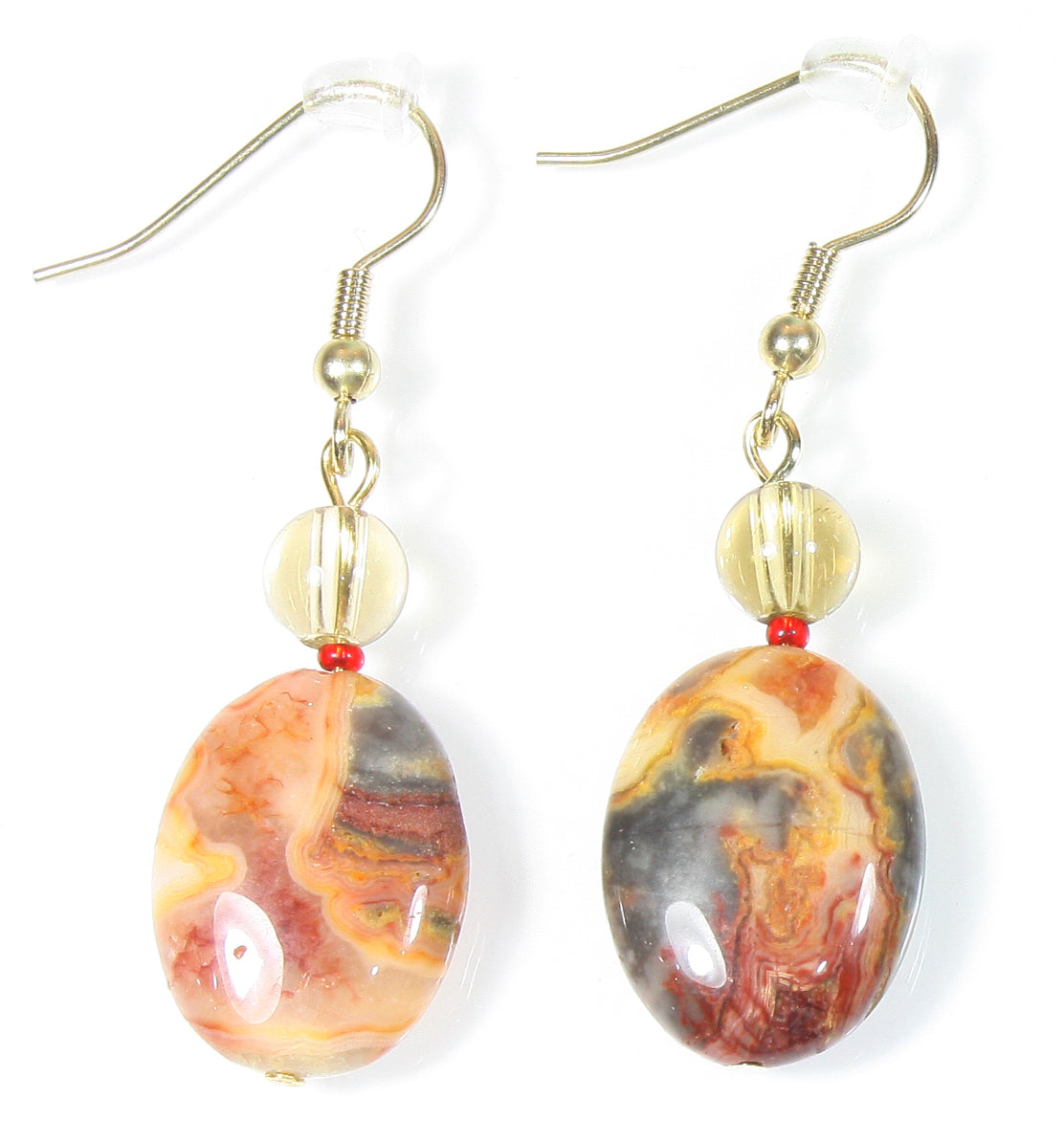 """Sonoran Desert"" Mexican Crazy Lace Agate and Smoky Quartz Earrings"