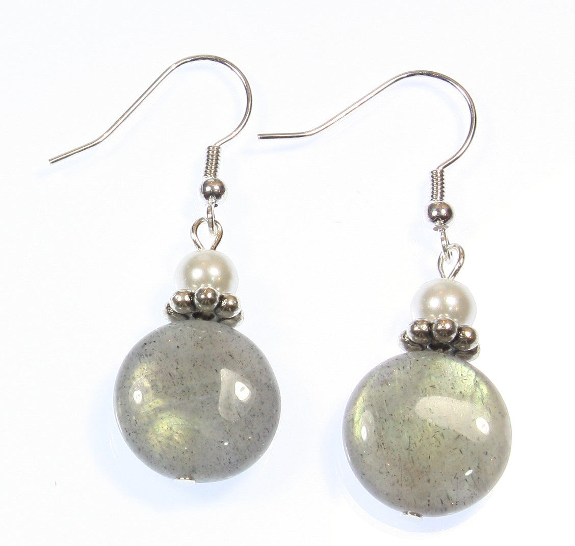 """Special Glow"" Labradorite Earrings, Dangle 1.75 Inches"