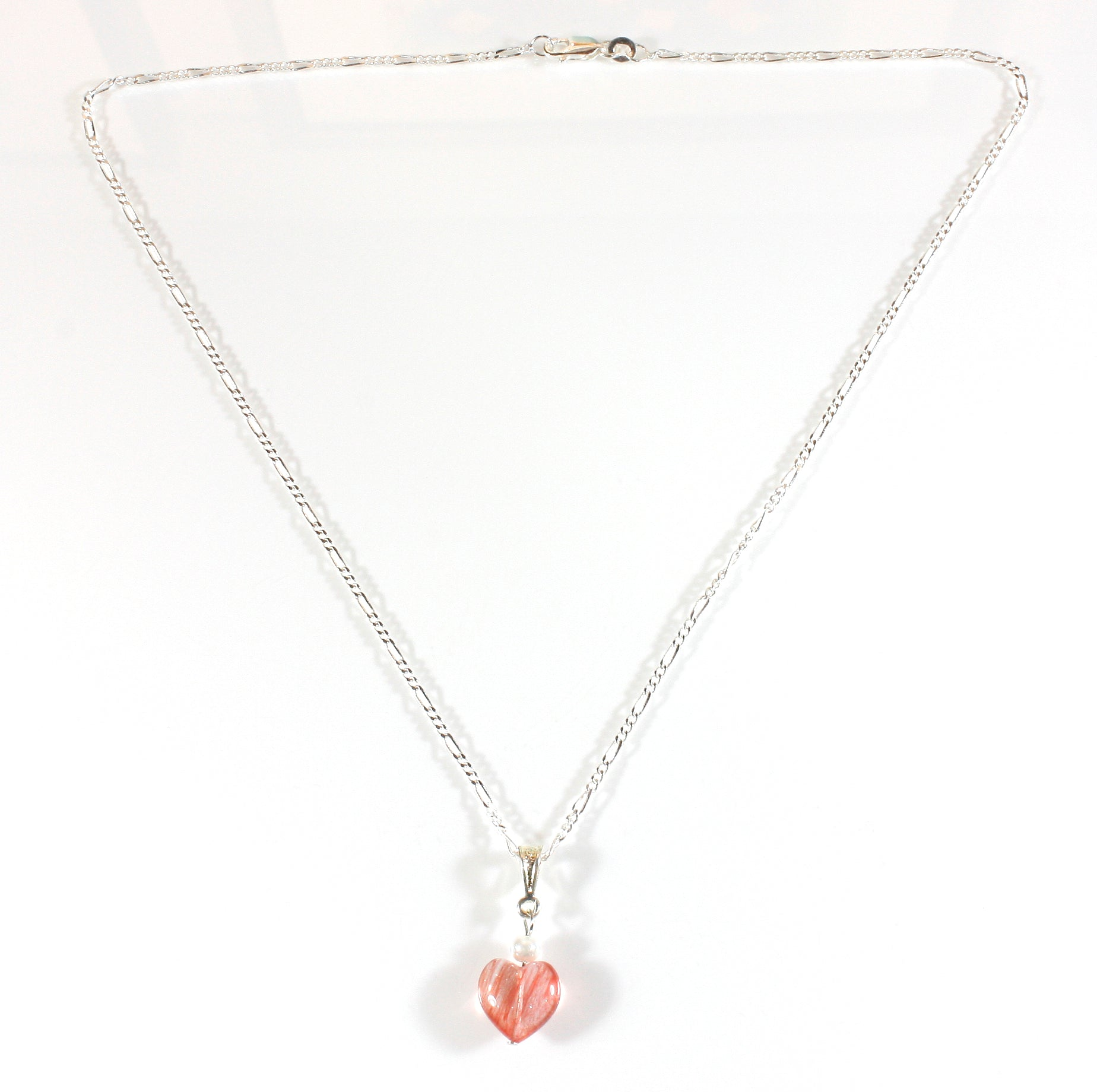 """Strawberry Fields"" Heart Shaped Necklace of Strawberry Quartz"