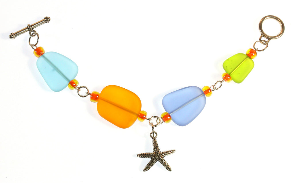 """Summer Memories"" Faux Sea Glass Bracelet; Various Sizes"