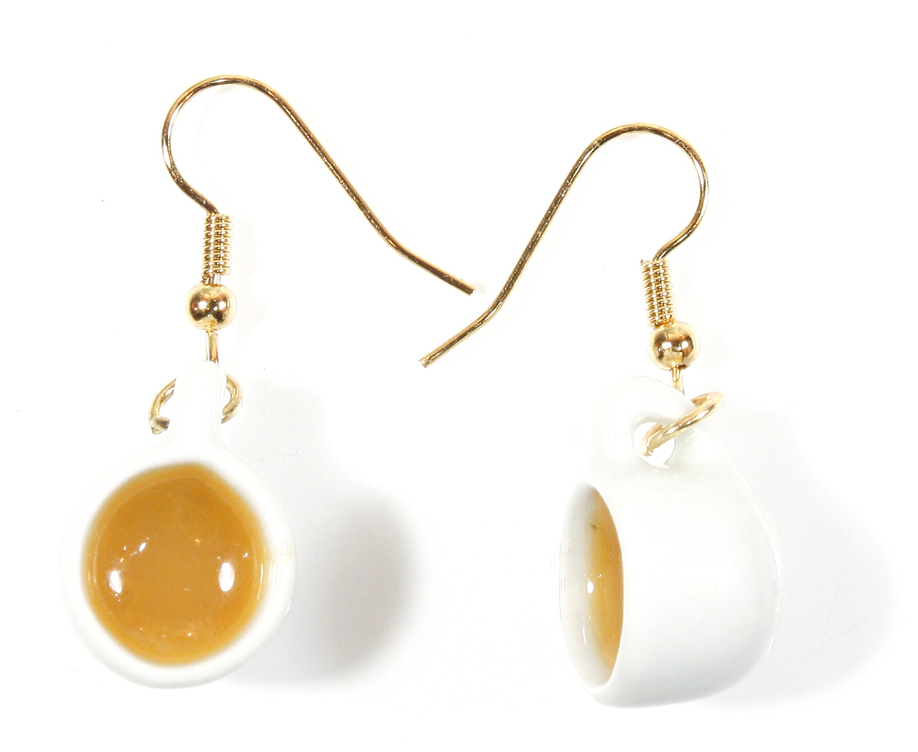 """Hot Tea with Milk, Please!"" White Porcelain Tea Cup Earrings"