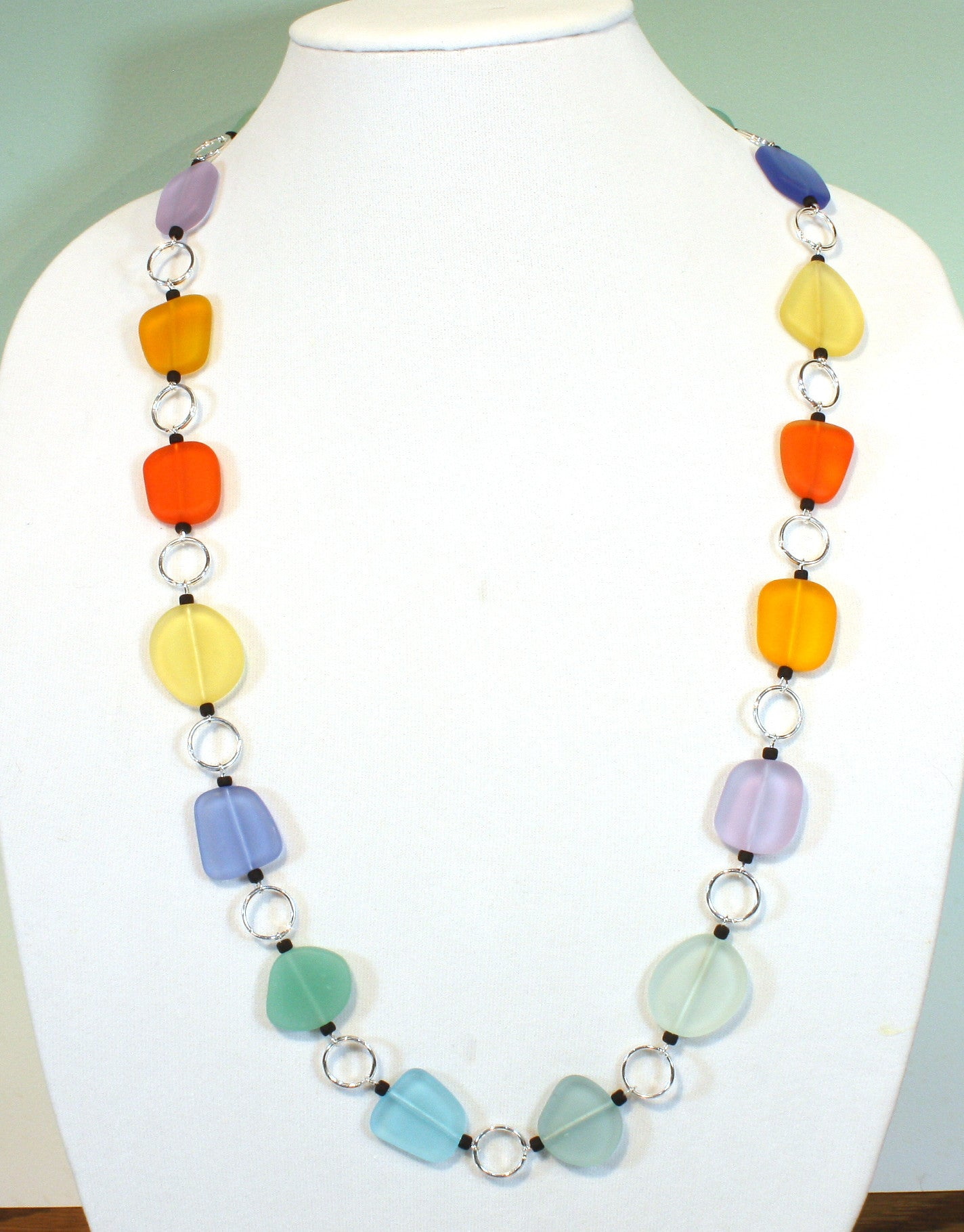 """The Ultimate Sea Glass Necklace"" Colorful Faux Sea Glass, 24 Inches"