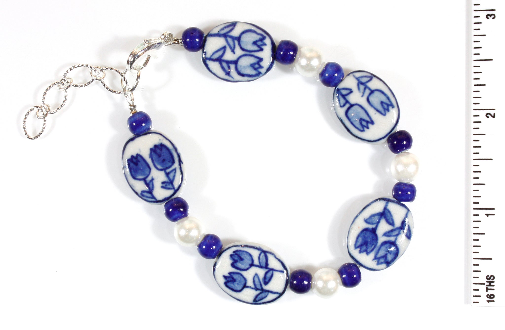"""Tulip Time"" Bracelet in Blue Delft Ceramic Beads, Size Medium/Large"
