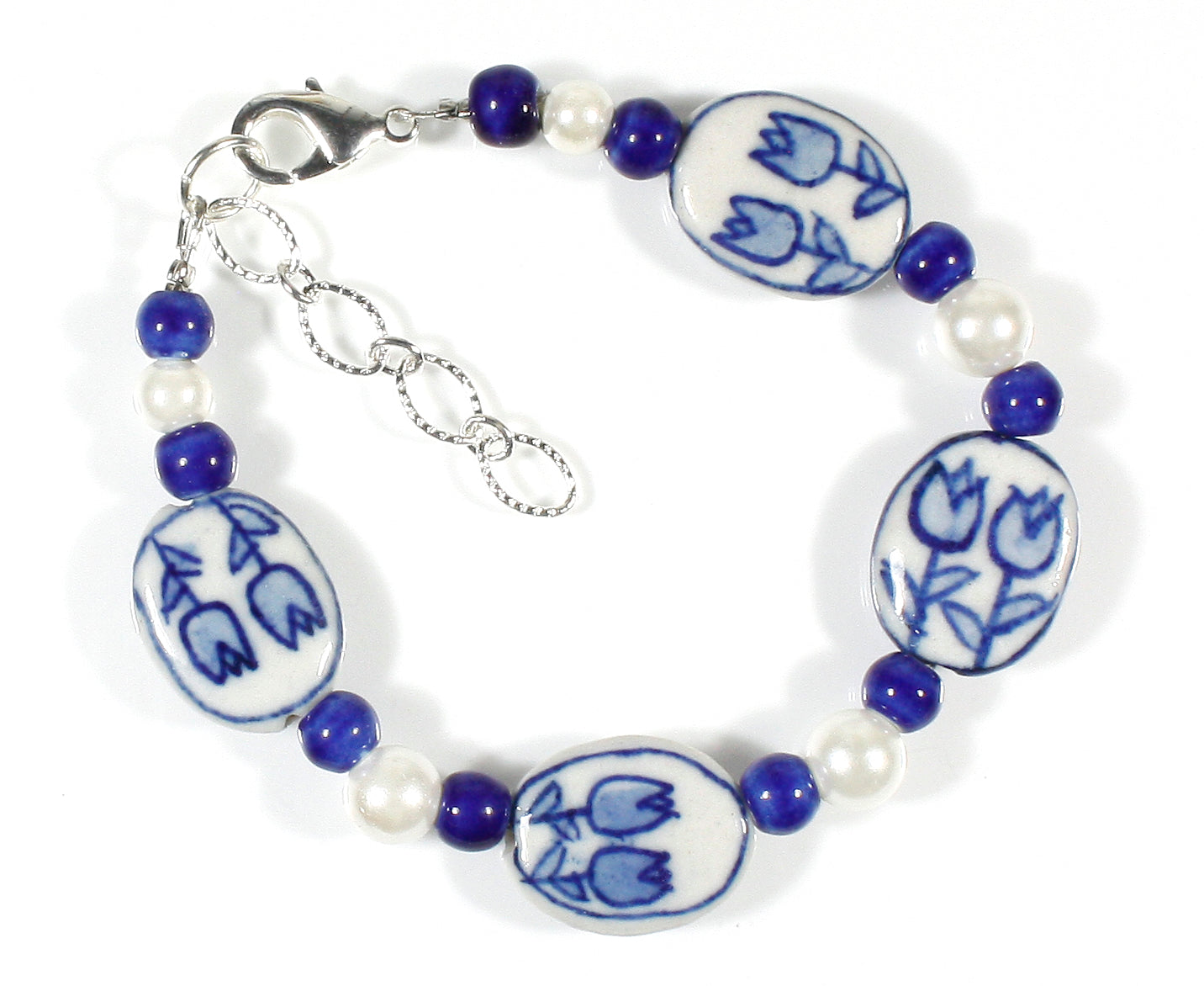 """Tulip Time"" Bracelet in Blue Delft Ceramic Beads, Size Small/Medium"
