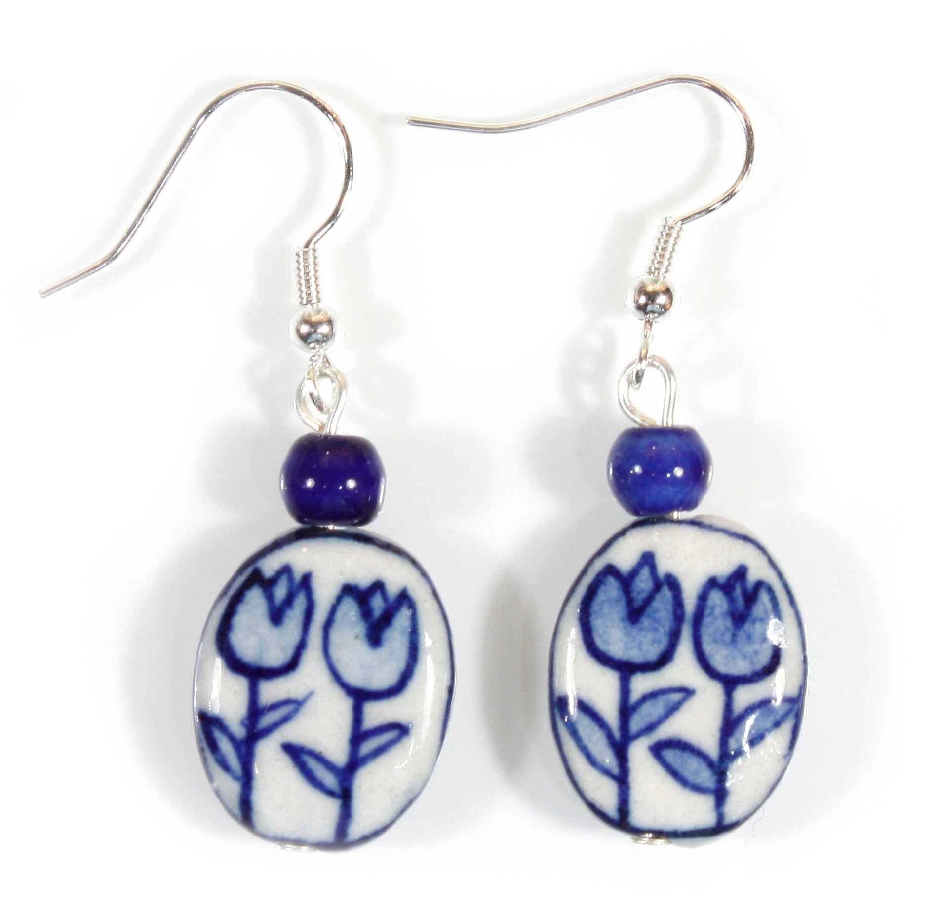 """Tulip Time"" Dutch Blue and White Porcelain Earrings"