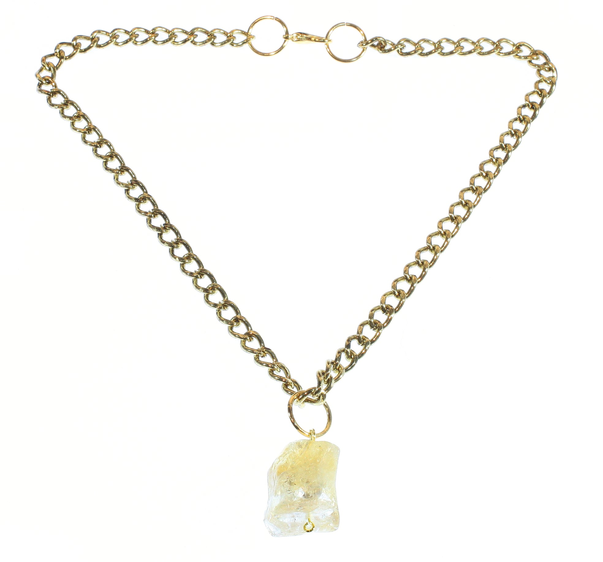 """Tumbled Quartz"" Large Quartz Nugget on Chunky Goldtone Chain, 20 Inches"