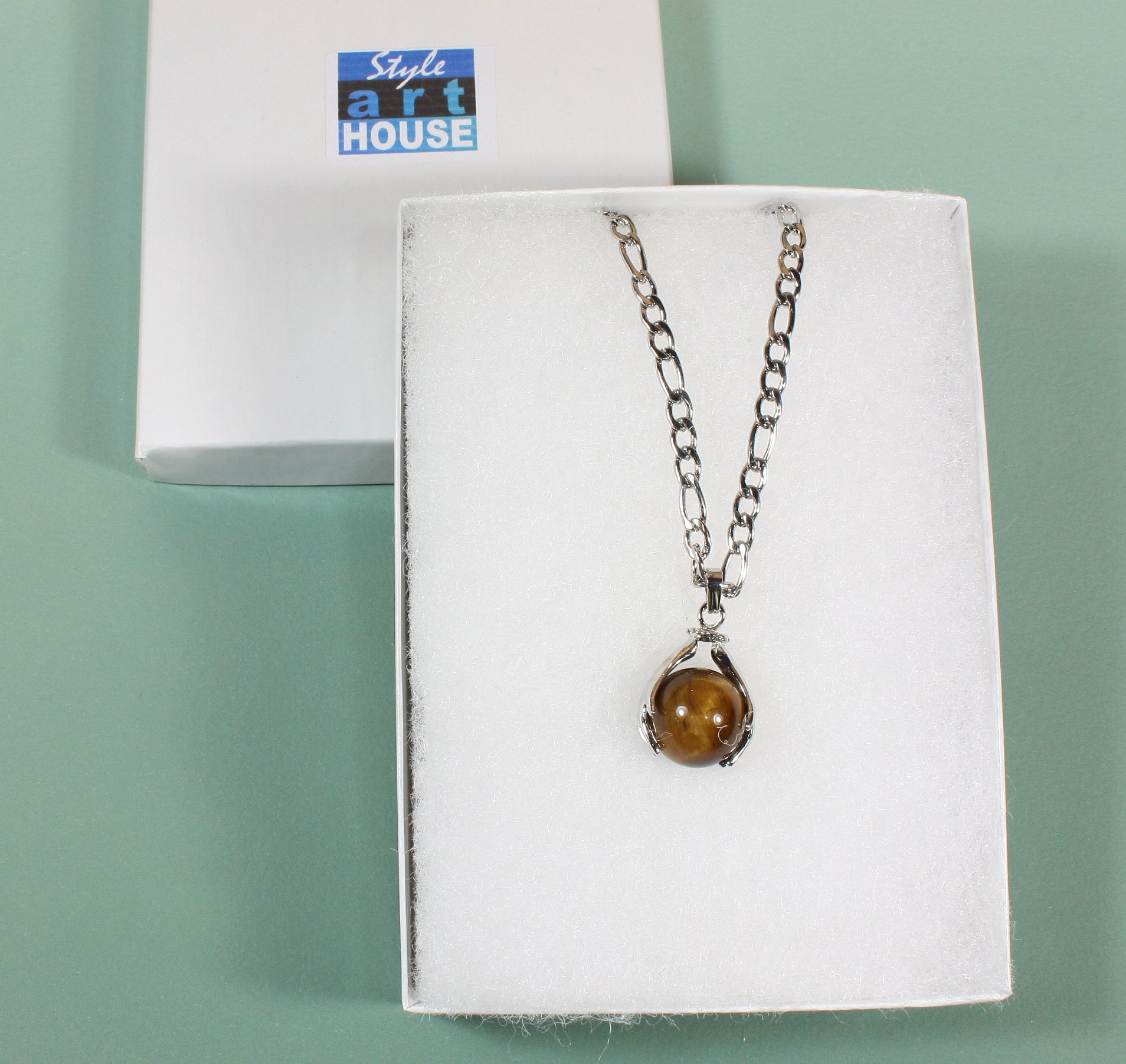 """Warming Hands"" Brown Tigerseye Globe Pendant on Stainless Steel Chain, 16 Inches"