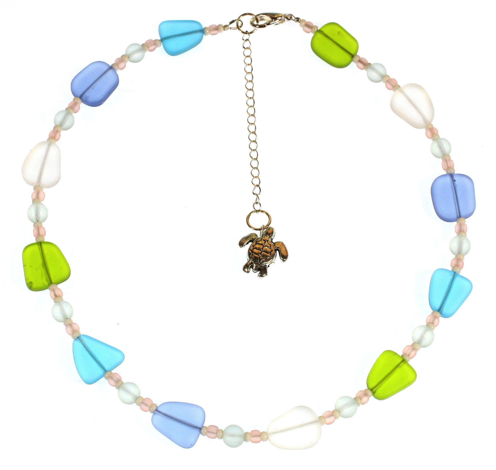 """Washed by the Sea"" Faux Sea Glass Short Necklace; 18 Inches"