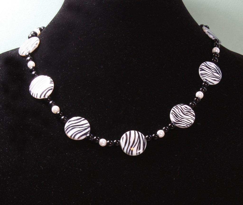 """Wild Zebra"" Mother-of-Pearl and Onyx Short Necklace, 19 Inches"