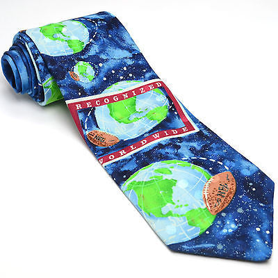13d76a38fa5f NFL 57L Ralph Marlin RM Sport 1992 Blue Novelty Football Silk Mens Neck Tie
