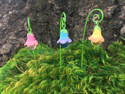 Glow in the dark bell flower garden decor