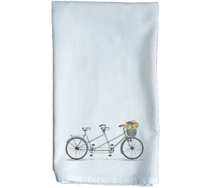 Tandem Bike Flour Sack Kitchen Tea Towel