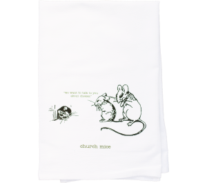 Church Mice Flour Sack Kitchen Tea Towel