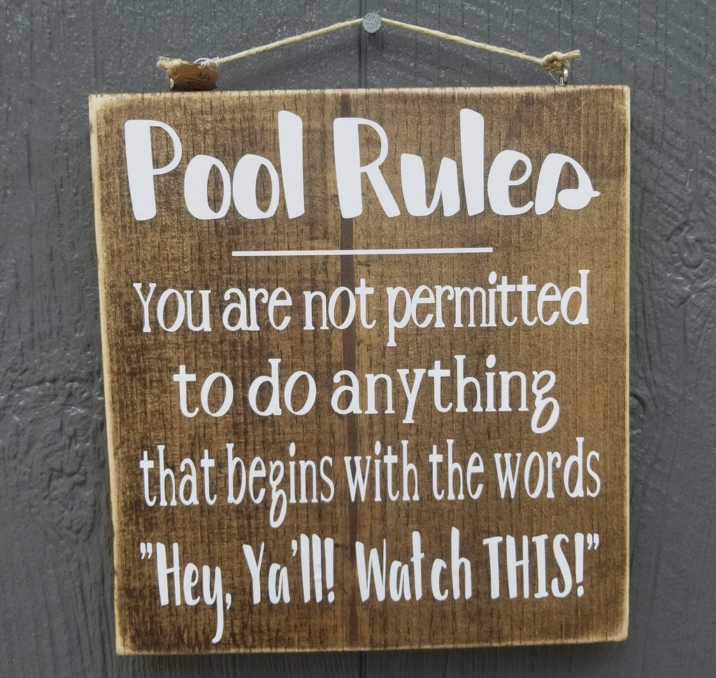 Pool Rules Wood sign