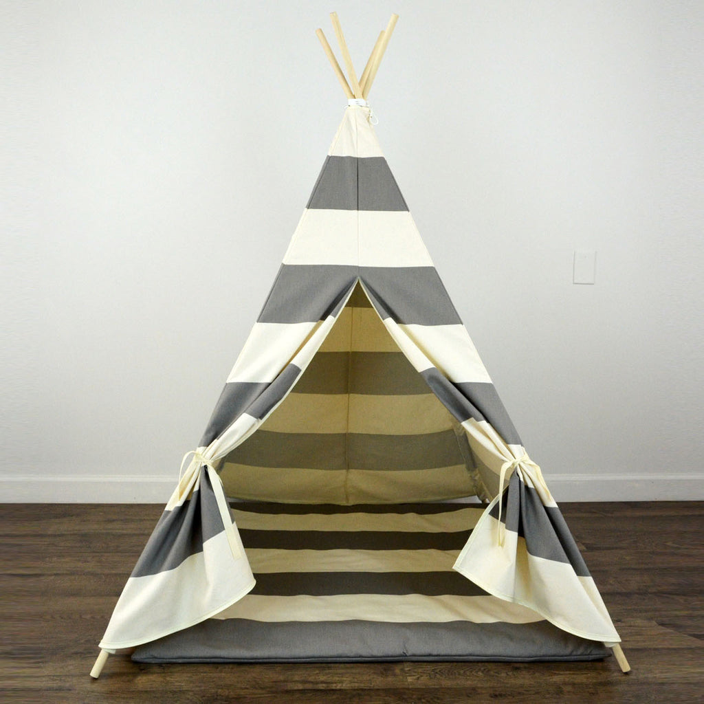 Design Kids Teepee kids teepee tent with play mat in dark gray and beige large stripe stripe