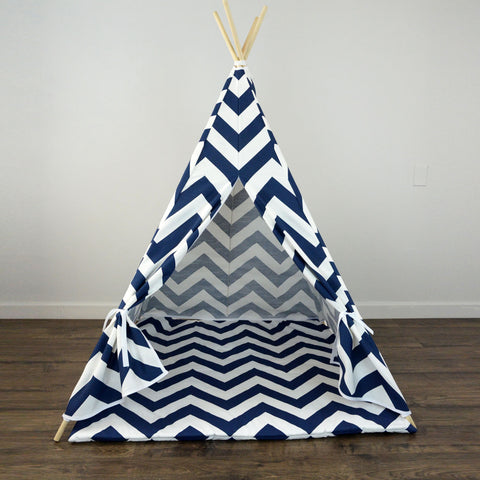 timeless design 7493f 242a4 Kids Teepee Tent with Matching Mat in Navy Blue and White Large Chevron Zig  Zag