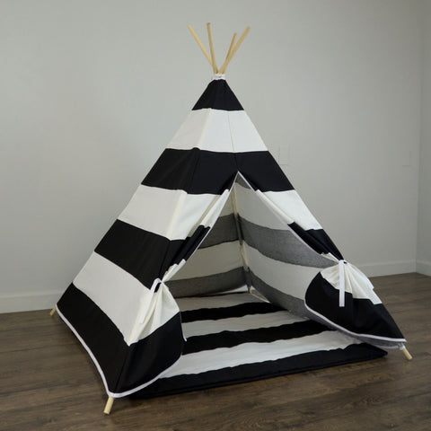 Kidu0027s Teepee Tent with Matching Mat in Black and White Large Stripe & Kidu0027s Teepee Tent with Matching Mat in Black and White Large ...