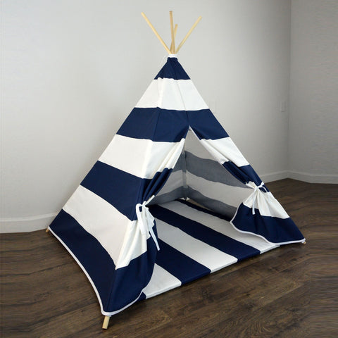 Kids Teepee Tent with Matching Mat in Navy Blue and White Large Stripe & Kids Teepee Tent with Matching Mat in Navy Blue and White Large ...