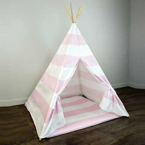 Girls Teepee Tent with Play Mat in Light Pink and White Large Stripe & Girls Teepee Tent with Play Mat in Light Pink and White Large ...