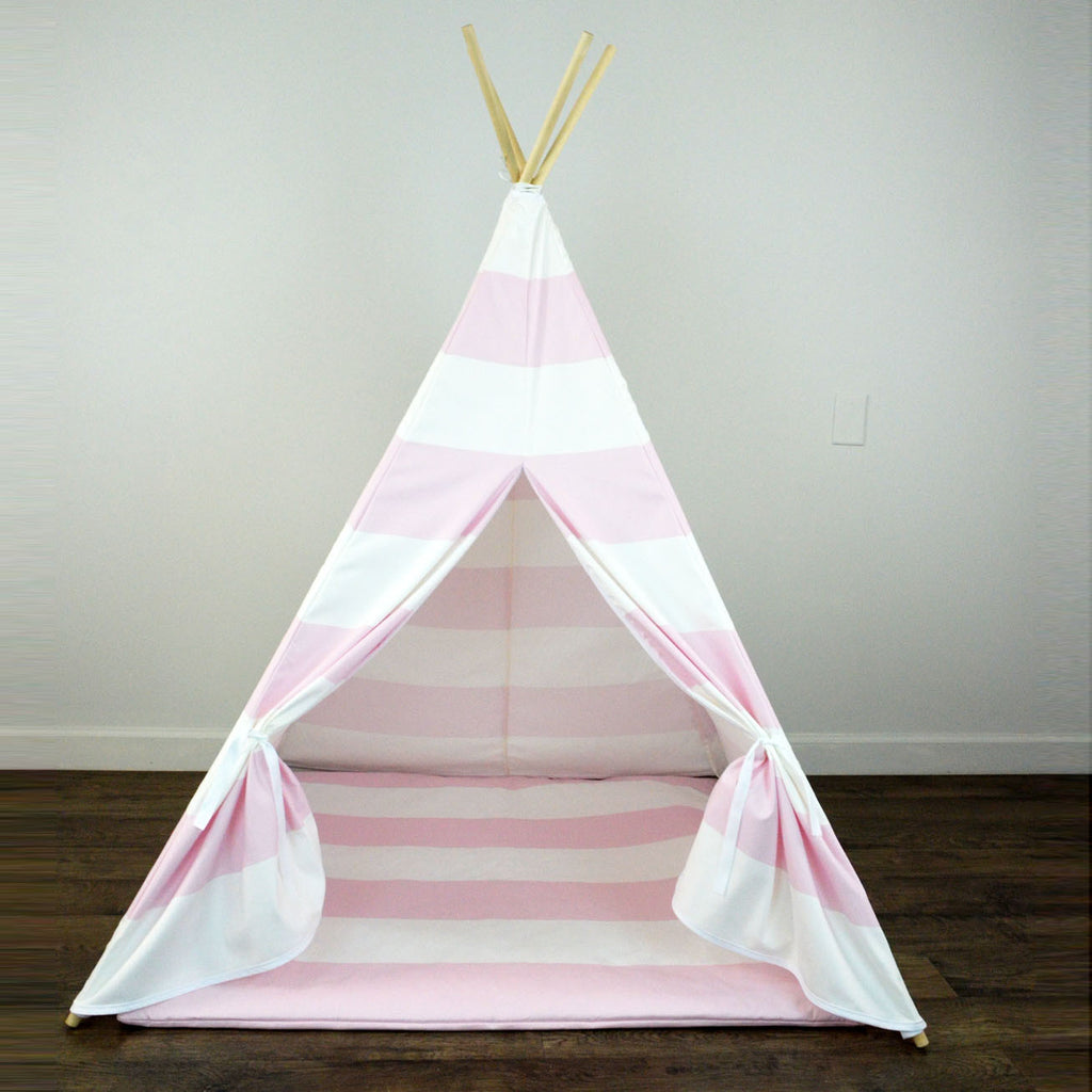 ... Girls Teepee Tent with Play Mat in Light Pink and White Large Stripe : tipi tent kids - memphite.com