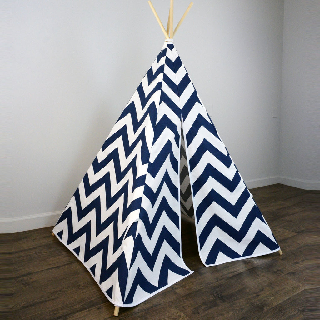 premium selection 336da aa6d4 Kids Teepee Tent in Navy Blue and White Large Chevron Zig Zag