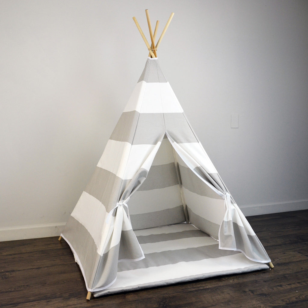 Kids Teepee Tent with Matching Mat in Gray and White Large Stripe