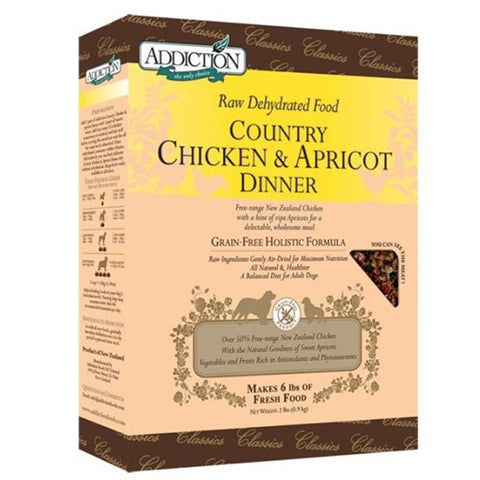 Addiction Raw Dehydrated Dog Food, Country Chicken & Apricot Dinner (Classic) - Grain Free | Dehydrated Food