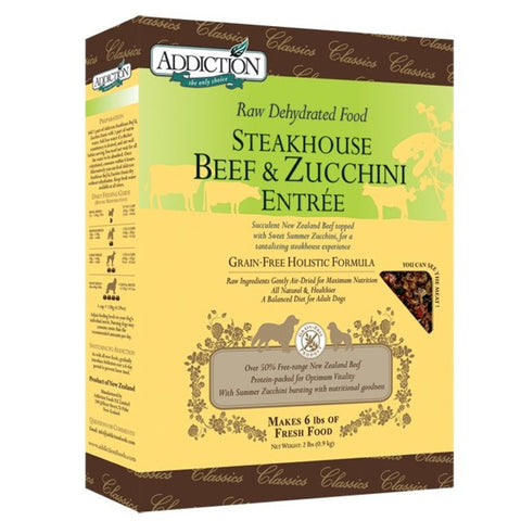 Addiction Raw Dehydrated Dog Food, Steakhouse Beef & Zucchini Entree (Classic) - Grain Free | Dehydrated Food