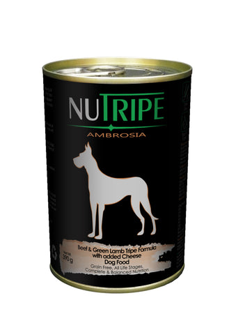 Nutripe Ambrosia Beef & Green Lamb Tripe with Cheese Dog Food (390g) | Wet Food