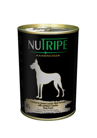 Nutripe Ambrosia Chicken & Green Lamb Tripe with Cheese Dog Food (390g) | Wet Food