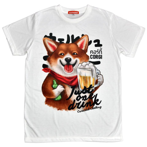 Corgi Just One Drink Unisex Graphic T-shirt