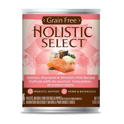 Holistic Select Grain Free Salmon, Mackerel And Whitefish Pate Canned Dog Food | Wet Food