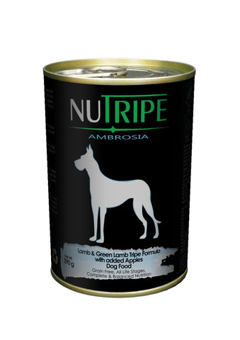 Nutripe Ambrosia Lamb & Green Lamb Tripe with Apples Dog Food (390g) | Wet Food