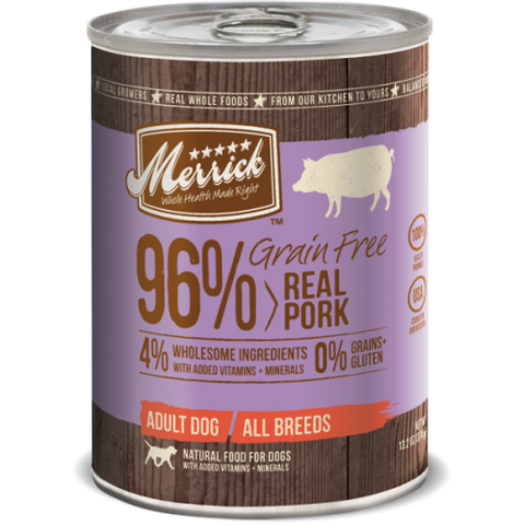 Merrick 96% Grainfree Real Pork Recipe 374g | Wet Food