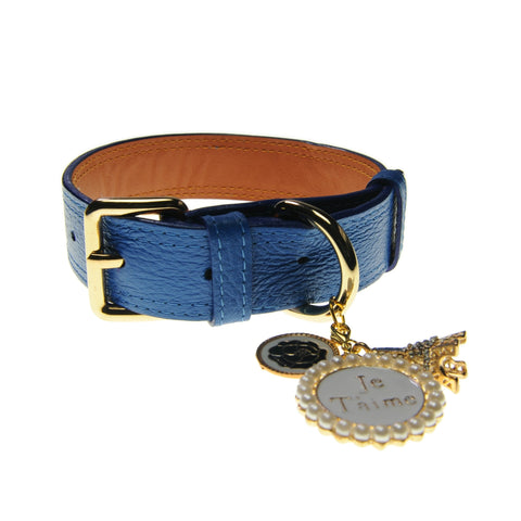 Handcrafted Leather Collar (Royal Blue) | Accessories