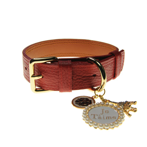 Handcrafted Leather Collar (Scarlet Red) | Accessories