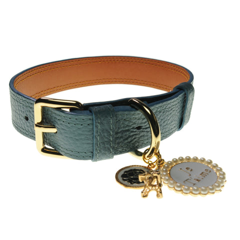 Handcrafted Leather Collar (French Blue) | Accessories