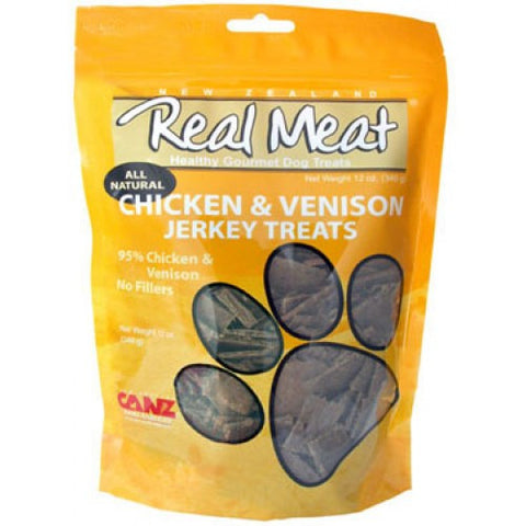 Real Meat Chicken & Venison Jerky 4oz | Treats