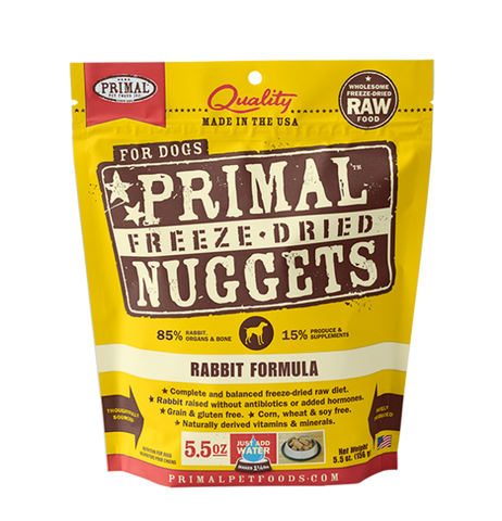 Primal Rabbit Formula 5.5oz Freeze Dried Foods For Dog