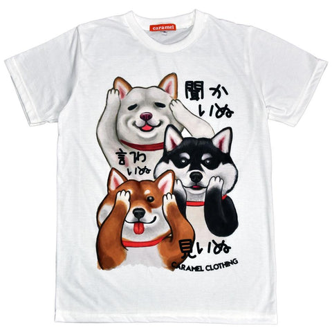 Shiba See No Evil, Hear No Evil, Speak No Evil Unisex Graphic T-shirt