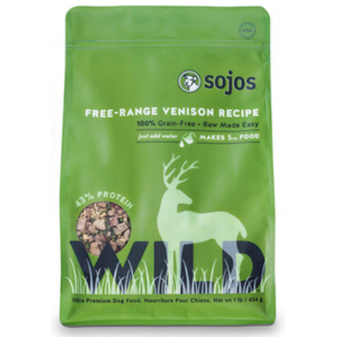 Sojos - Freeze Dried Raw Free-Range Venison Recipe (1lb) | Freeze Dried Food - 1