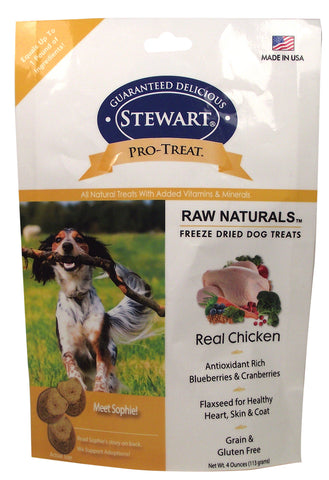 Stewart Pro-Treat Raw Naturals, Real Chicken with Berries & Flaxseed 4oz | Treats