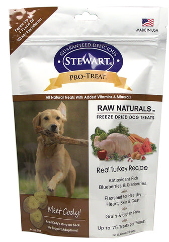 Stewart Pro-Treat Raw Naturals, Real Turkey with Berries & Flaxseed 4oz | Treats