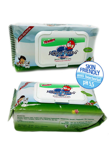 Sukina Petto Anti Bacterial Wipes (70pcs) | Grooming