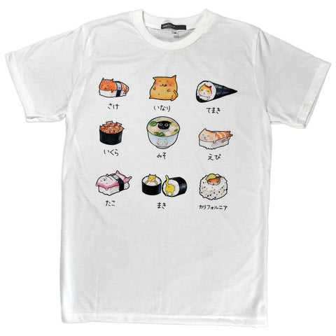 Sushi Cat Menu Unisex Graphic T-shirt