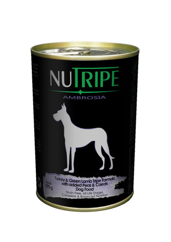 Nutripe Ambrosia Turkey & Green Lamb Tripe with Peas & Carrots Dog Food (390g) | Wet Food