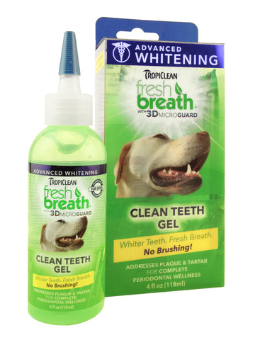 Tropiclean - Fresh Breath Advanced Whitening Gel With 3D Micro Guard (4oz) | Grooming